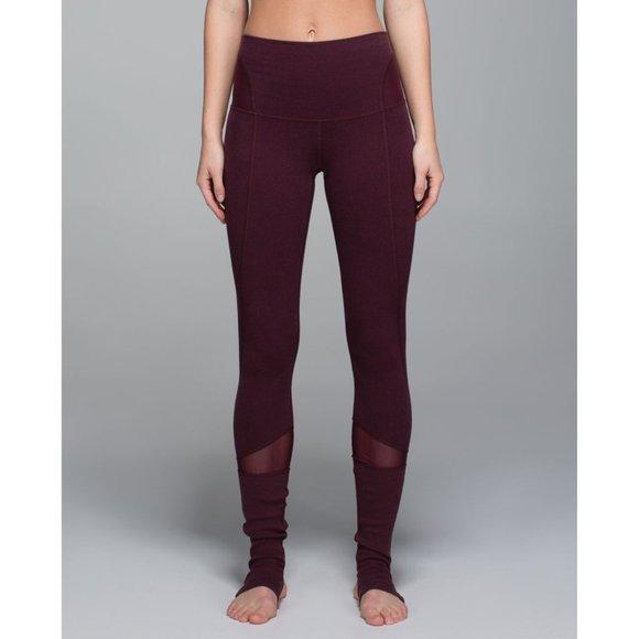 Lululemon Devi Yoga Pant Rare Size 4 Stirrup Legging Heathered Bordeaux